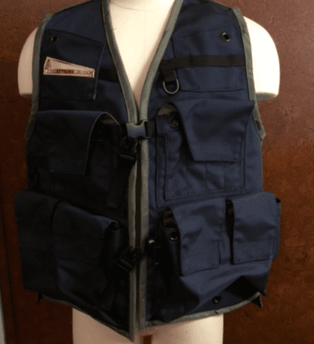 Image of The Klamath Extreme Cruiser Vest In Navy Blue With Charcoal Binding