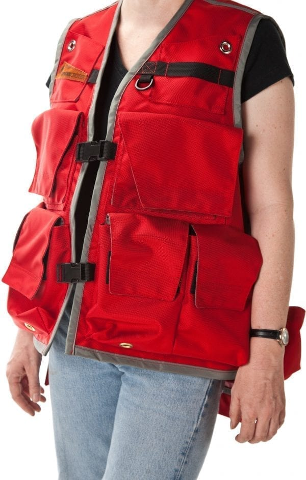 Image of A Woman's Klamath Extreme Cruiser Vest In Red With A Grey Binding