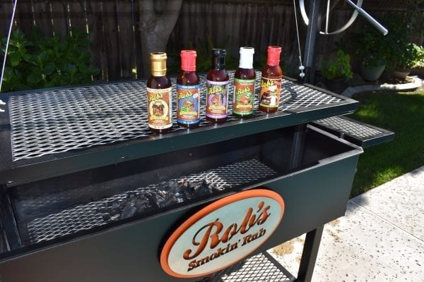 Robs BBQ Sauces on Barbecue Grill