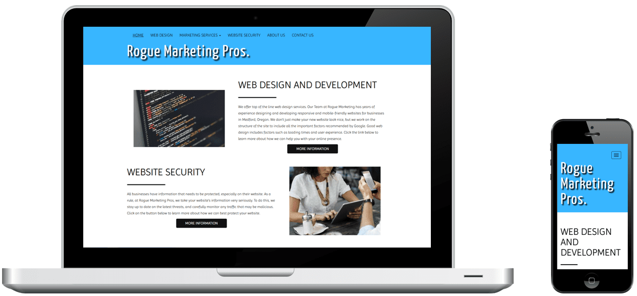 Rogue Marketing Pros' website on a laptop and phone, designed by Rogue Marketing Pros