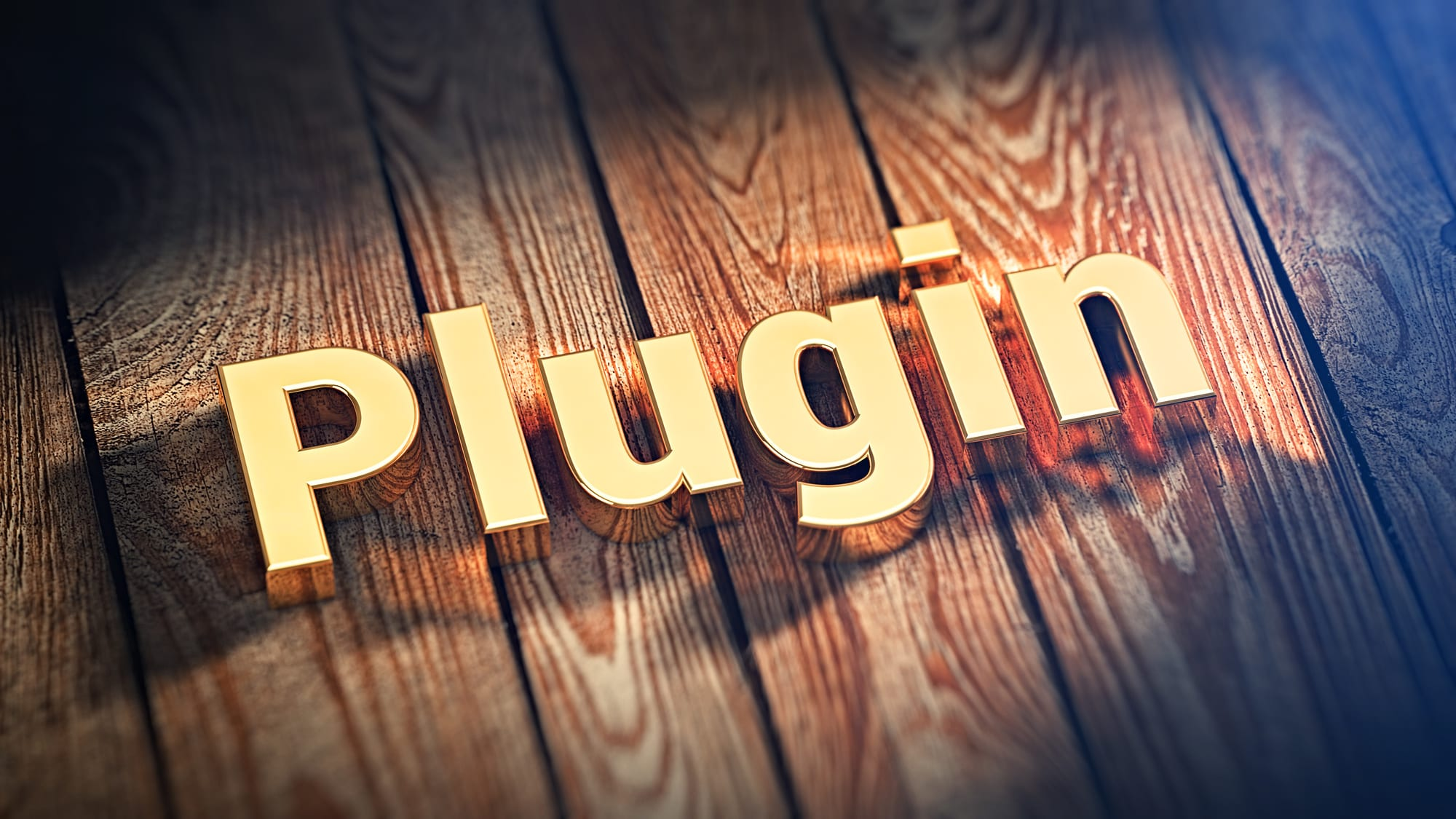 """Image of the word """"Plugin"""" on top of wood planks."""